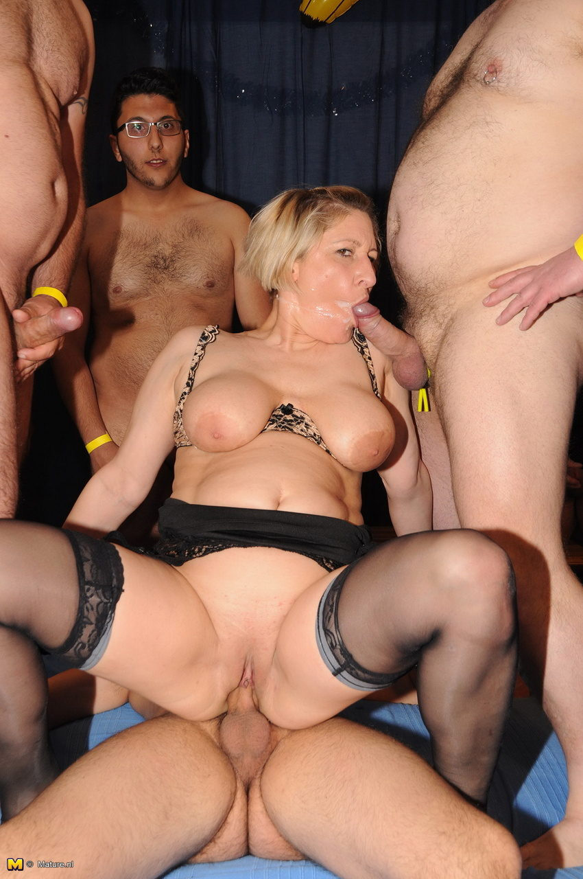 Milf russian mature group sex will