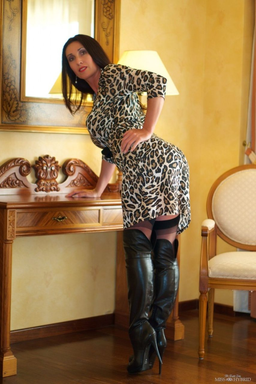 Both beautiful in leopard dress and pantyhose