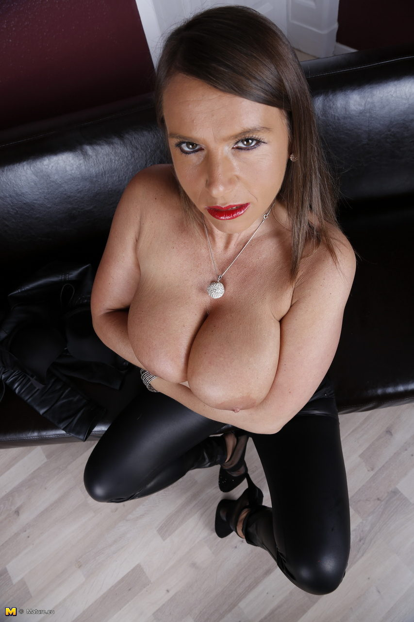 Leather mature pants milf